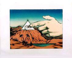 ポール・デービス版画連作「回帰夢」  2.Finger of  Fate  宿命の指  1975 リトグラフ
