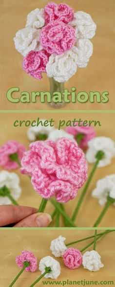 free Carnations crochet pattern by PlanetJune - makes beautiful and realistic life-sized flowers