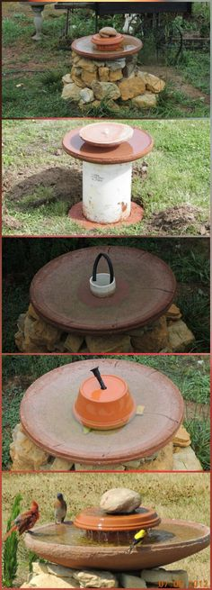 DIY Bird Bath Using Flower Pots, make it into a low flow water ...