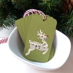 Items similar to Musical Reindeer Christmas Tags or Package Labels on Moss (Qty. on Etsy Christmas Name Tags, Cricut Christmas Ideas, Reindeer Christmas, Christmas Gift Wrapping, Christmas Gift Tags, Christmas Love, Handmade Christmas, Christmas Crafts, Christmas Wishes