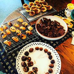 Jannos book club on Monday.  Both of us with migraines but I can bake when I'm baked so I baked.  Chocolate almond maple syrup bark almond truffles and clusters  choc puffy pasty packages  and Canadian Butter Tarts!  Whoop