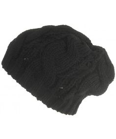 f70d33213c5 Cable Knit Beret Slouchy Beanie Winter Snowboard Ski Cap Black CO11R4FHS2J.  Hats ...