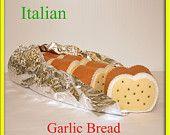 Wool Felt Playfood Italian Garlic Bread - Waldorf Inspired Felt Playfood Accessory for Imaginative Play