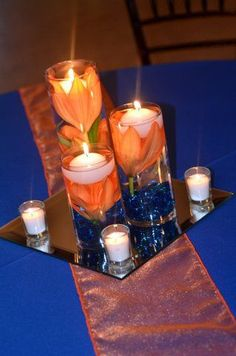 Orange navy blue wedding | Check out other gallery of Royal Blue And Orange Wedding Centerpieces
