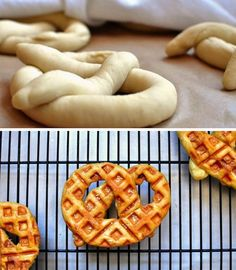 Makes them look so pretty! If you're going to attempt this, just be sure to follow the recipe if you want them to turn out as amazing as the ones you see in the picture. You can use this same recipe to make waffled bread for sandwiches, too. 23 Things You Can Cook In A Waffle Iron | Waffle Iron Soft Pretzel