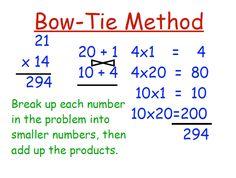 bowtie method by multiplication Multiplication Strategies, Math Strategies, Math Resources, Math Activities, Math Classroom, Math Math, Math Fractions, Fun Math, Fifth Grade Math