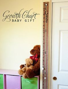 Portable growth chart: Measure and markout inches on jute webbing. Stencil on feet/inch labels. Use paper key tags to write pertinent info and attach to chart with large safety pin. Can put in grommet at top for hanging.
