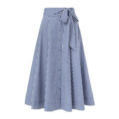 Gingham Full Skirt ($50) ❤ liked on Polyvore featuring skirts, full skirt, a-line skirt, tie waist skirt, button front a line skirt and gingham skirt