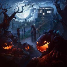 Press wall - Halloween 2015 by on Retro Halloween, Halloween Kunst, Halloween Moon, Halloween Artwork, Halloween Painting, Halloween Wallpaper, Halloween Backgrounds, Halloween Images, Halloween 2015