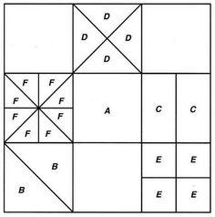 Пэчворк схема. Отдельные лоскуты можно разделить на более мелкие треугольники и четырехугольники