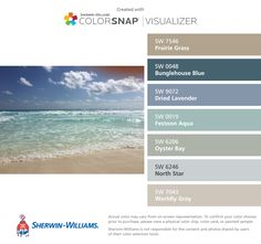 I found these colors with ColorSnap® Visualizer for iPhone by Sherwin-Williams: Prairie Grass (SW 7546), Bunglehouse Blue (SW 0048), Dried Lavender (SW 9072), Festoon Aqua (SW 0019), Oyster Bay (SW 6206), North Star (SW 6246), Worldly Gray (SW 7043).