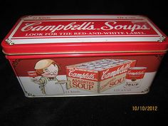 Very RARE Hard to Find Americana Collectble Retro Campbell's Soup Cracker Tin