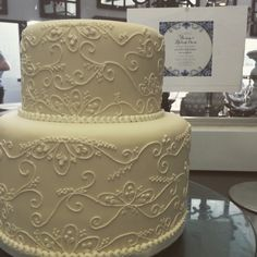Two tier fondant cake with piped detail by The Birdcage, Stellenbosch