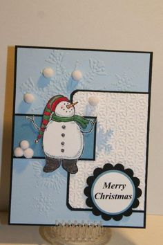 Stacy's Snow Much Fun stamp, use tiny white pompoms for snowballs! Christmas Paper Crafts, Diy Christmas Cards, Xmas Cards, Handmade Christmas, Holiday Cards, Merry Christmas, Snow Much Fun, Card Making Inspiration, Making Ideas