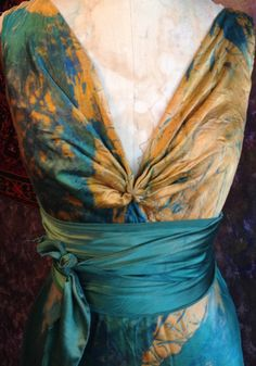 Gold teal blue long silk Henry boho chic wedding dress mother of the bride colored wedding dress by momosoho on Etsy