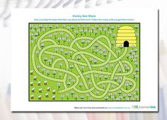 Printable worksheet for kids. Honeybee Maze - help get the honeybees safely home to their hive.