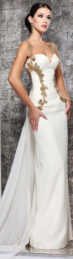 Gold and white evening gown.