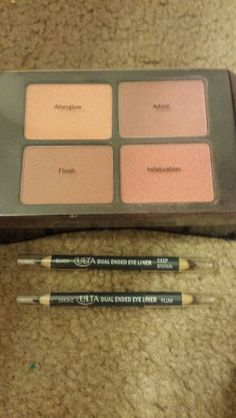 Ultra Blush Quad from a gift set Adore and Infatuation were swatched the other two not touched and Dual ended eyeliner pencils never used..Ulta Quad is traded..pencils sold..