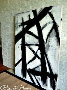 DIY Black and white art - West Elm hack Metal Tree Wall Art, Diy Wall Art, Diy Art, Art Crafts, Wall Decor, Black And White Wall Art, Black And White Painting, White Gold, Modern Art Paintings