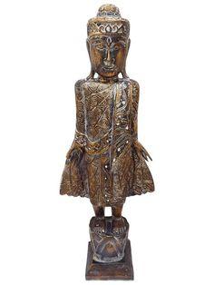 """Escultura em Madeira de Bali """"Buda em Pé"""" 105cm - Arte Pátina - http://www.artesintonia.com.br/dlu5m7ojr-escultura-de-buda-tailandes-em-madeira-120x43cm-arte-bali"""