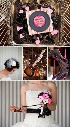 Pink & Black rock n roll wedding