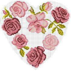 Grille gratuite point de croix coeurs fleurs roses rouge et orange - D m c broderie grilles gratuites ...
