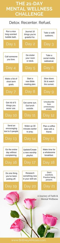 21-Day Mental Wellness Challenge. But changing the christian stuff to meditation and reading about buddhism