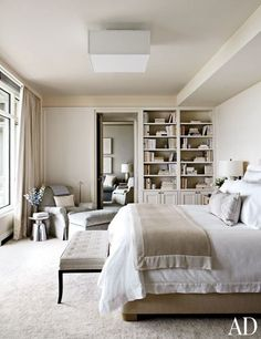 Master Suite : Victoria Hagan Designs a Luminous Milwaukee Residence : Architectural Digest Monochromatic palette trend in restful, elegant shades of white, ivory and cream. Neutral Bedrooms, Luxurious Bedrooms, Masculine Bedrooms, White Bedrooms, Bedroom Neutral, Master Bedrooms, Architectural Digest, Home Bedroom, Bedroom Decor
