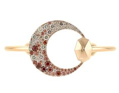 Octium Creates Series III Crescent Bangle. 18k rose gold with Red Garnets & Champagne Diamonds