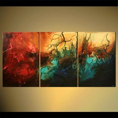 Large Modern Abstract Art Acrylic Painting Teal, Blue, Red Enormous Painting by…