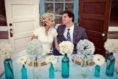 Resultado de imagem para arranjos com garrafas de vidro para casamento