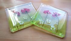 Poppy coasters, Two fused glass coasters, Poppies and daisy coasters, Floral glass coasters. by WhimsicalFusing on Etsy Glass Coasters, Fused Glass, Poppy, Daisy, Tableware, Unique Jewelry, Handmade Gifts, Floral, How To Make
