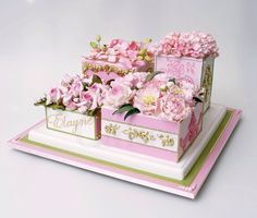 This is one of the most beautiful cakes I have ever seen. This was made for a woman named Elayne for her birthday by NYC Cake Girl.