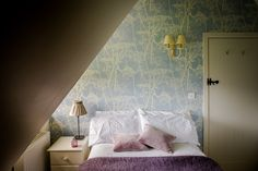 attic guest bedroom with Cole & Son Cow Parsley wallpaper by Velvet & Dash Interiors Cow Parsley, Cole And Son, Attic, Velvet, Interiors, Bedroom, Wallpaper, House, Furniture