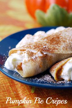 honey dessert recipes, indonesian dessert recipes, easy baking recipes desserts - This easy recipe for pumpkin pie crepes is a nice change from traditional pumpkin pie. These light crepes are a great way to end a Thanksgiving meal. Köstliche Desserts, Delicious Desserts, Dessert Recipes, Yummy Food, Autumn Desserts, Pumpkin Pie Recipes, Fall Recipes, Holiday Recipes, Plum Recipes
