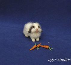 OOAK 1:12 Dollhouse Miniature Bunny Rabbit Lop Furred Realistic Animal Handmade