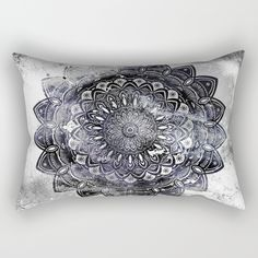 "Our Rectangular Pillow is the ultimate decorative accent to any room. Made from 100% spun polyester poplin fabric, these ""lumbar"" pillows feature a double-sided print Galaxy Space Mandala (Black and White & Gray Scale) Mystical Adventurous Sky clouds space Galaxy mandala mandalas mandela wanderlust wander travel adventure meditate meditation affirm affirmation unique detailed minimal minimalism minimalistic pattern eclectic ethnic simple awesome different cool black and white modern"