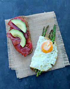 Fried Egg and Serrano Ham Breakfast Sandwich | honey & asparagus......you had me at serrano ham....no wait, at fried egg...or maybe avocado