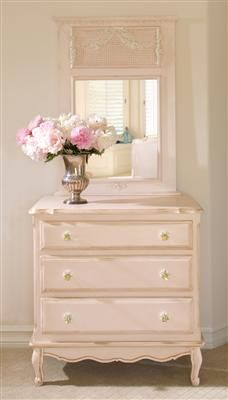 AFK's French Chest, shown in Versailles Pink Finish with optional Floret Glass Knobs.  Choose from any of our AFK Finishes and hand-painted Motifs to create the perfect French Chest for any room.  #afk #chest