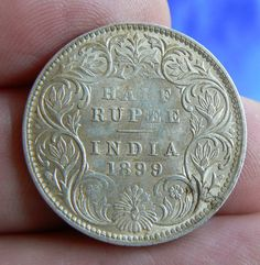 SCARCE INDIA HALF RUPEE COIN 1899  B  RETROGRADE INCUSE WITH LUSTRE