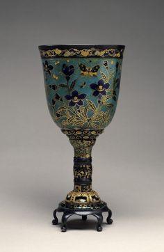 Cloisonné Goblet ca. 1876 (Meiji). Maizono Gen-ö (Japanese) cloisonné enamels, gold, and silver  (Enamels)