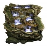 Alpine 3 Tier Rainforest Outdoor Fountain with LED Lights Indoor Water Fountains, Indoor Fountain, Garden Fountains, Outdoor Fountains, Wall Fountains, Water Wall Fountain, Rock Fountain, Fountain Ideas, Feng Shui