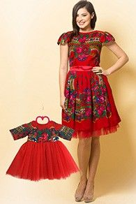 Set Rochii Mama-Fiica Etno Rosu - Etno Red Dress, Traditional Look for Mother- Daughter Dress, Romanian Dress, Short Sleeve Dresses, Dresses With Sleeves, Textiles, Traditional Looks, Boutique, Tulle, Daughter, Summer Dresses, Clothes