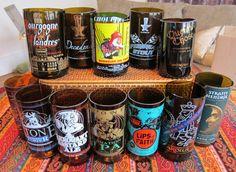 Craft Beer Bottle Tumbler DIY Stylelist  (would make good candle holders too) Beer Crafts, Wine Bottle Crafts, Bottle Art, Easy Crafts, Bottle Labels, Beer Bottles, Beer Bottle Glasses, Glass Bottles, Crafty Craft