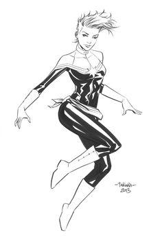 Black & white sketch of Carol Danvers as Captain Marvel. Art by Marcio Takara.