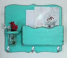 Large Mail Organizer, shabby chic, floral vase, mail holder, key hooks, mail holder, wood, distressed, vintage, home decor,painted Aqua Blue...
