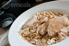Creamy Crock Pot Pork Chops Over Egg Noodles with Simple Steamed Broccoli | eMeals