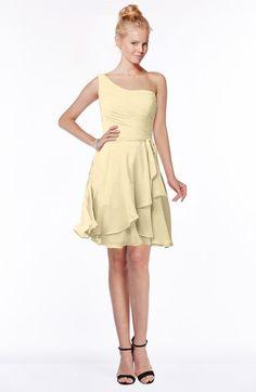 Cornhusk Romantic Fit-n-Flare One Shoulder Zip up Chiffon Knee Length Bridesmaid Dresses