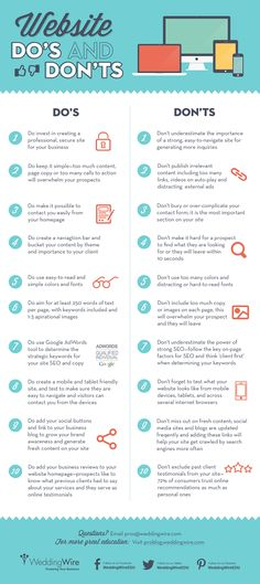 What does your site currently say about your business? Improve your site with these 20 dos and don'ts in the infographics.