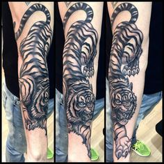 neotraditional tiger black tattoo